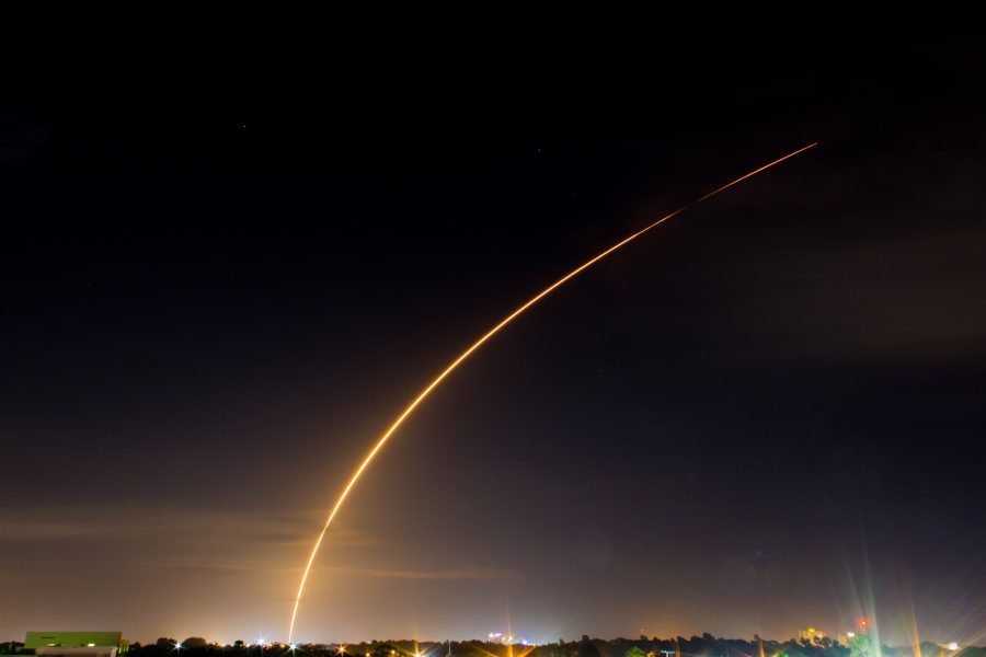 Space X Rocket Launch At Kennedy Space Centre In Florida.