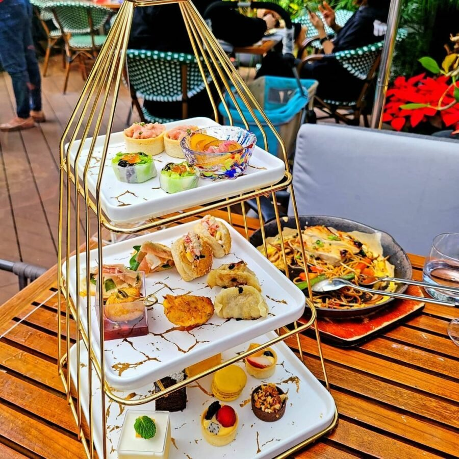 A Table With Plates Of Food On It  Description Automatically Generated With Low Confidence